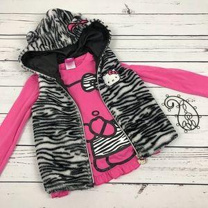 Sanrio Hello Kitty Girls Zebra Vest Pink Shirt Set